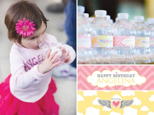 little angel birthday party water bottle labels