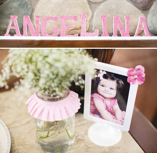 little angel birthday party glittered letters