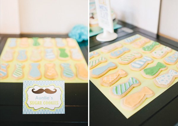 little man first birthday tie cookies