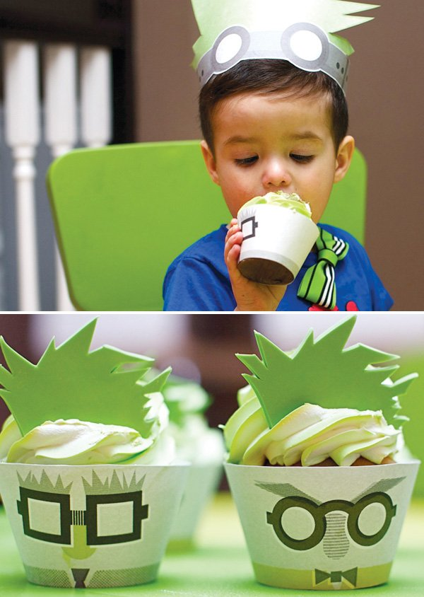 mad scientist dinner party with lime green cupcakes and hair