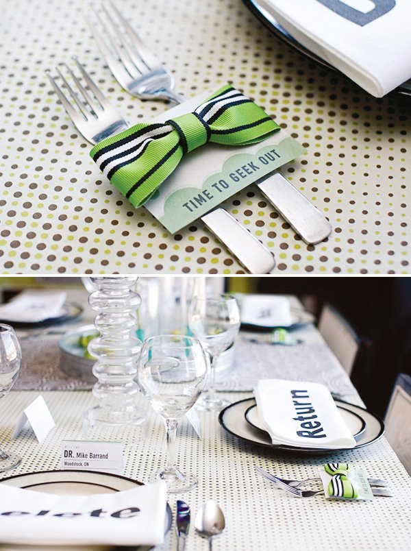 mad scientist dinner party table settings with green bow ties
