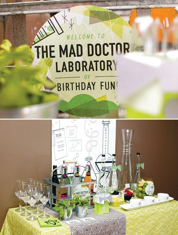 mad scientist dinner party drink muddling station