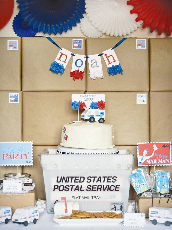 mail birthday party dessert display table