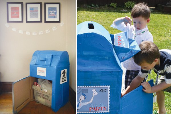 mail birthday party big bright blue mailbox for sorting activitiy