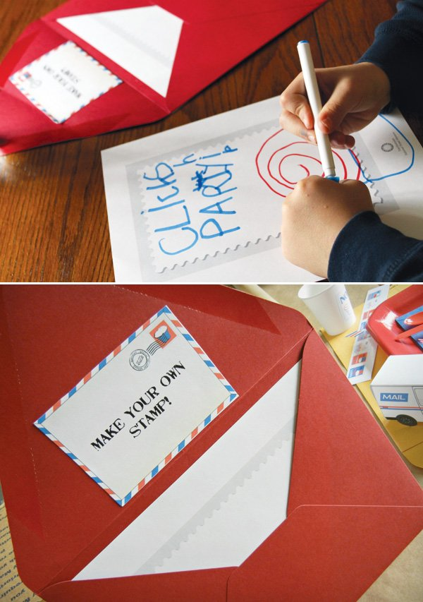mail birthday party make your own stamp activity