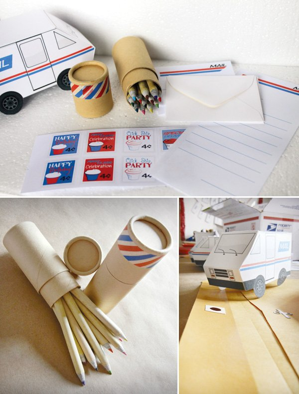 mail birthday party post office favors