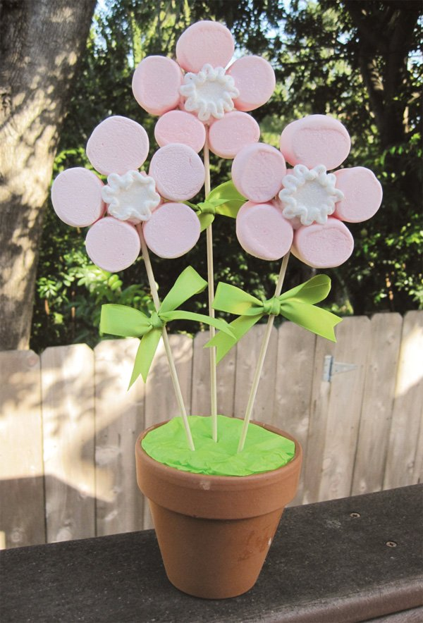 marshmallow mother's day tutorial pink flower bouquet
