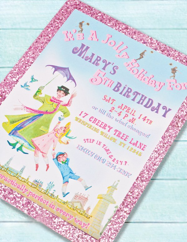 mary poppins theme dessert table and party invitation