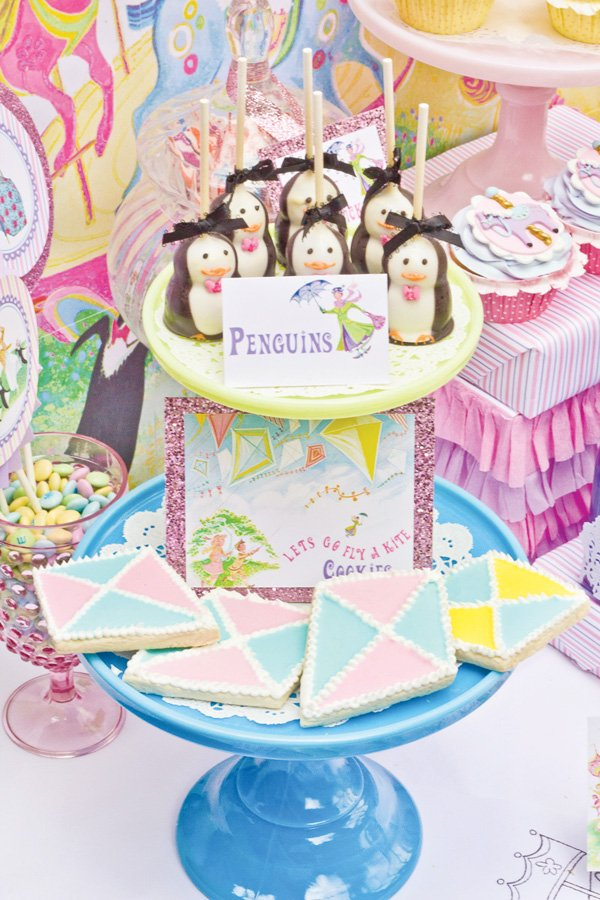 mary poppins theme dessert table with penguin cake pops