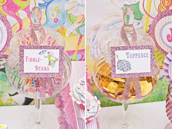 mary poppins theme dessert table with pink sparkly glitter food labels
