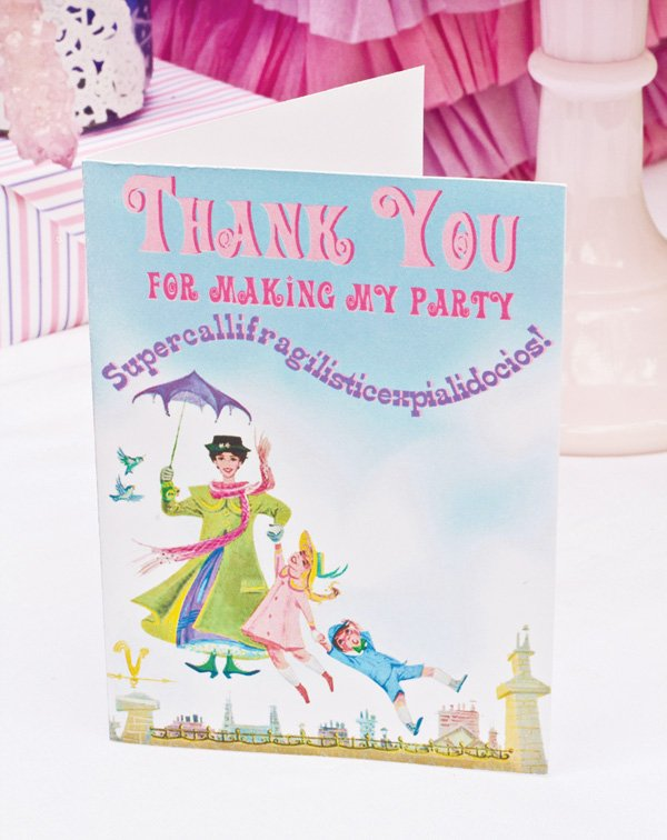 mary poppins theme dessert table printable thank you card