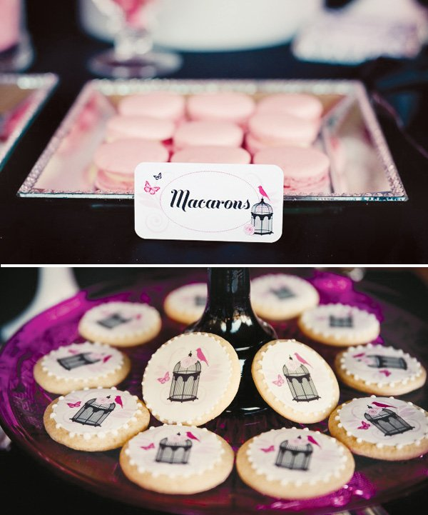 pink & chic masquerade birthday party bird cage cookies
