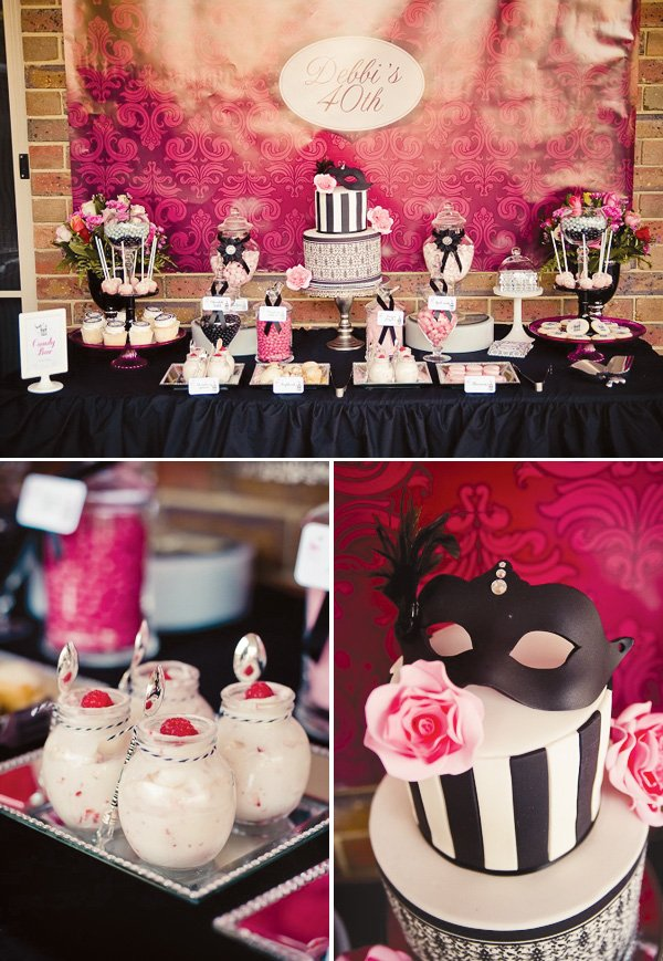 masquerade chic birthday dessert table