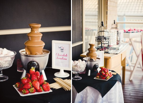 masquerade chic birthday party chocolate fountain