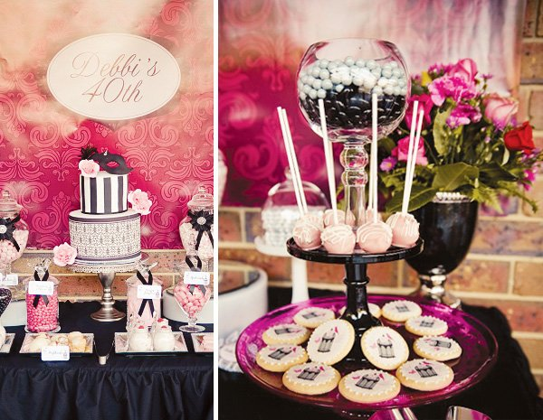 Chic masquerade themed 40th birthday party hostess with