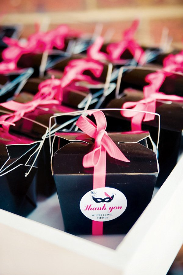 pink masquerade birthday party favors