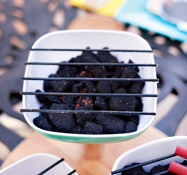 diy tutorial for a mini charcoal grill table centerpiece
