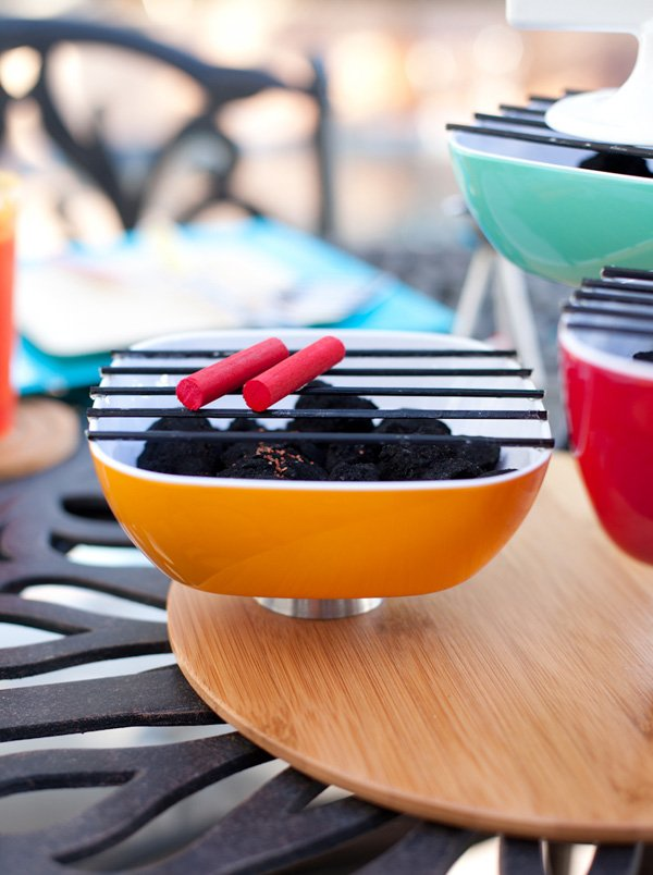 diy charcoal grill centerpiece for a summer grilling party