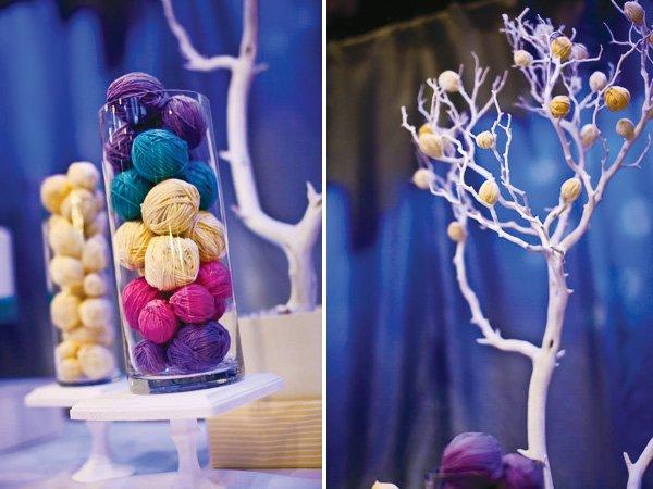 modern seuss birthday party yarn decor