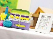 modern seuss birthday party snacks in suitcases