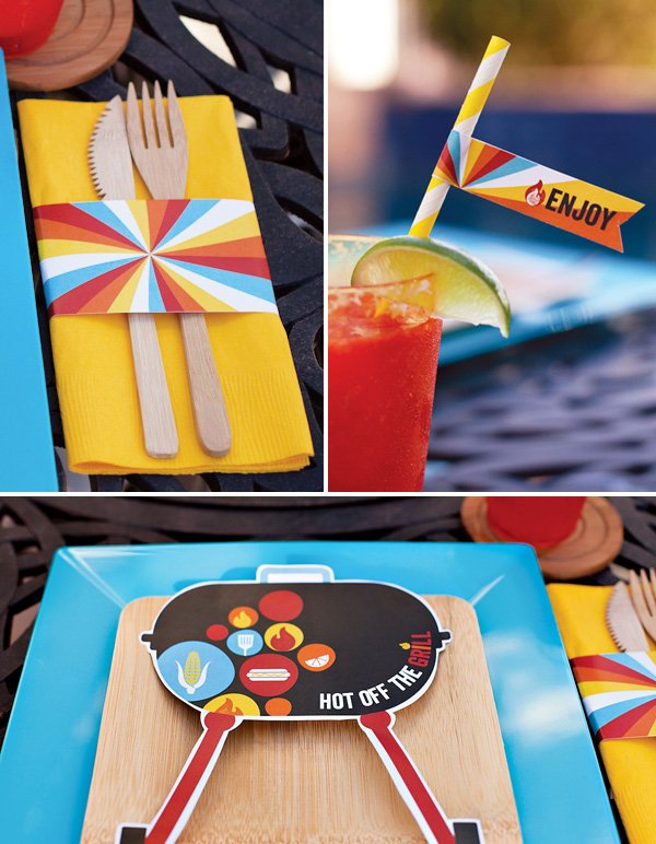 modern summer bbq table settings with free printables