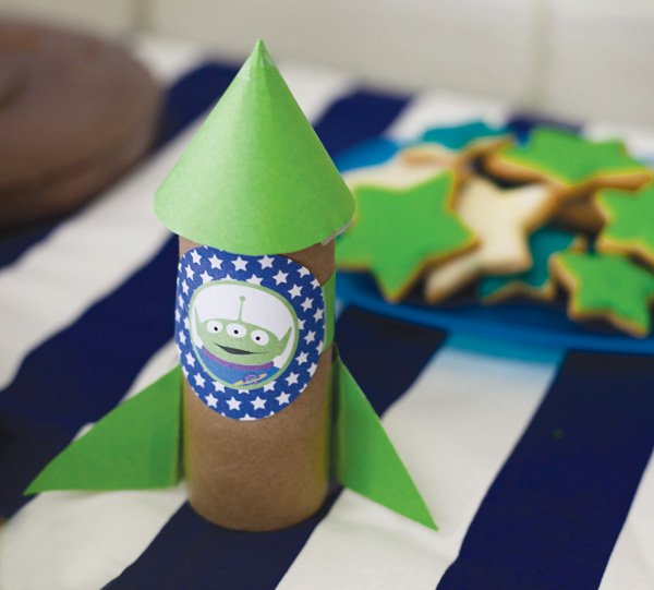 modern toy story birthday party diy rocket ship with a toilet roll