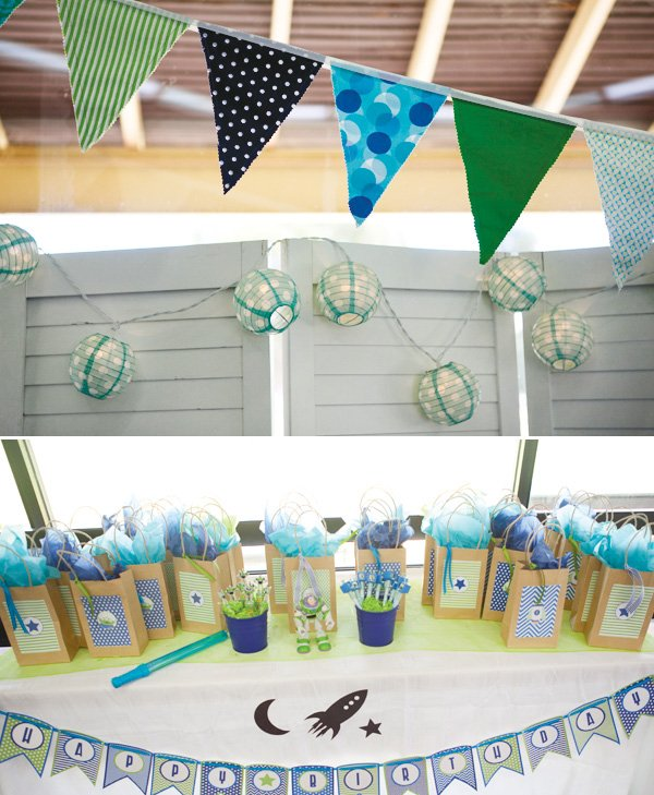 modern toy story birthday party fabric bunting