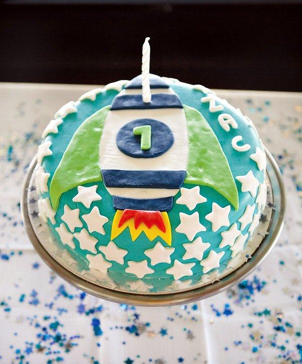 modern toy story party rocket ship cake