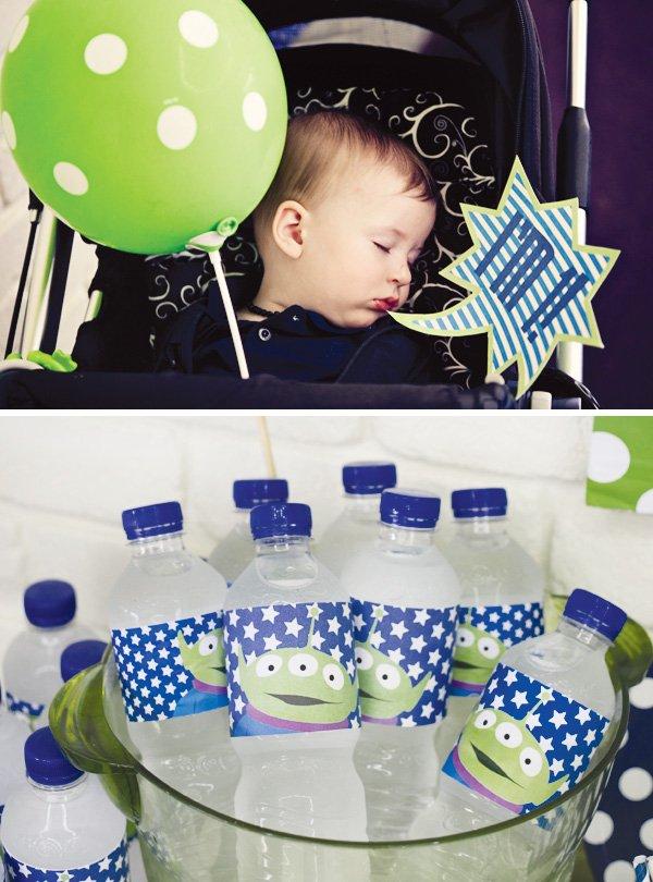 modern toy story party alien water bottle labels