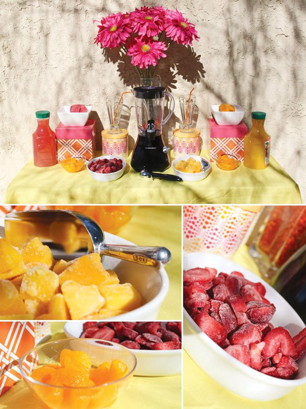mother's day pink and yellow smoothie bar