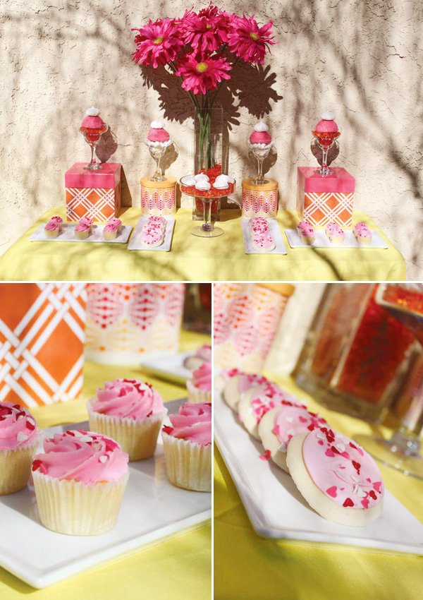 yellow and pink sweets table