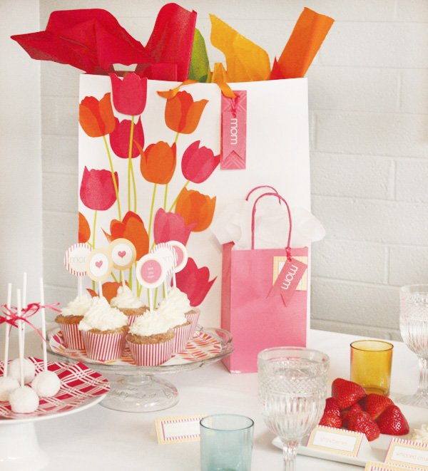 mother's day brunch sweets table gift bag with tulips