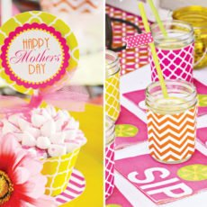 mother's day lunch cupcake topper and sip napkins in pink