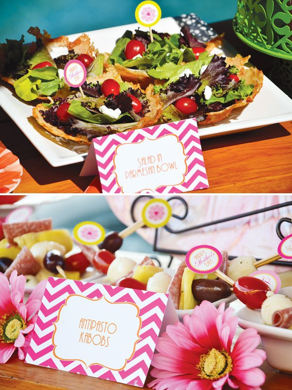 mother's day lunch free printables in pink chevron