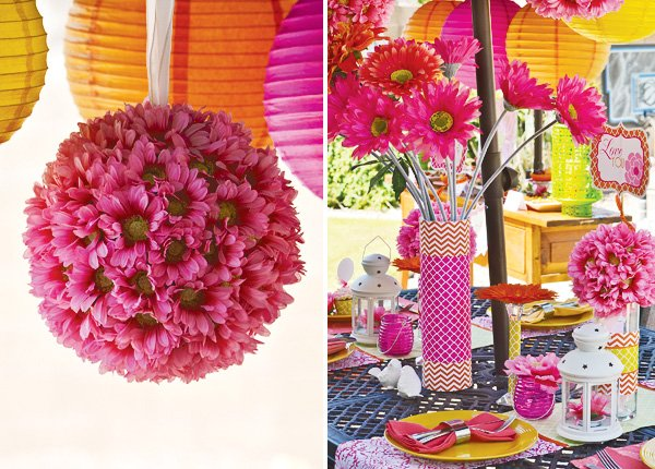 mother's day lunch table and hanging flower ball
