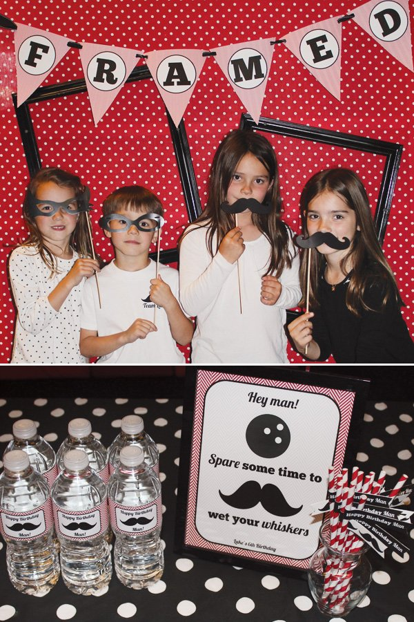 bowling party photo booth props and bowling themed water bottles
