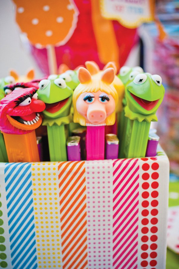 muppet themed birthday party decorations and pez dispensers