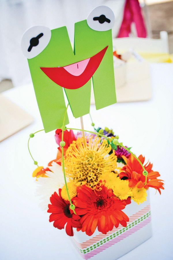 muppet party with a kermit the frog centerpiece