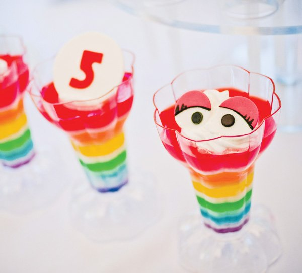 muppet party with rainbow layered jello