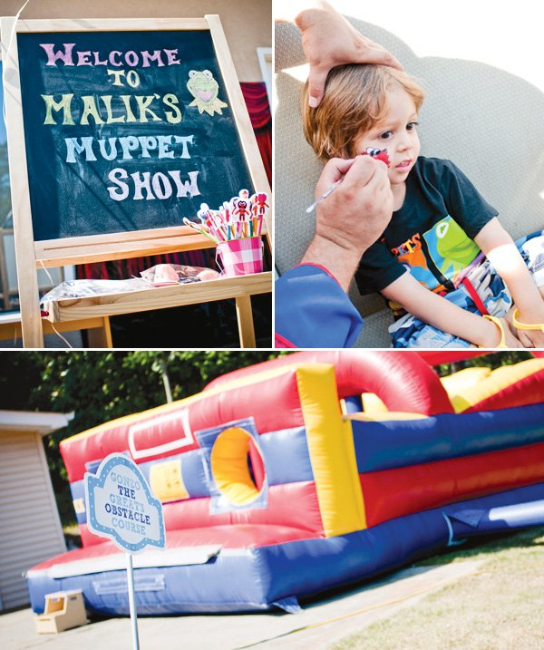 muppet themed birthday party obstacle course
