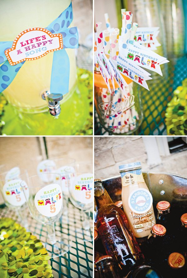 muppet themed birthday party drink station