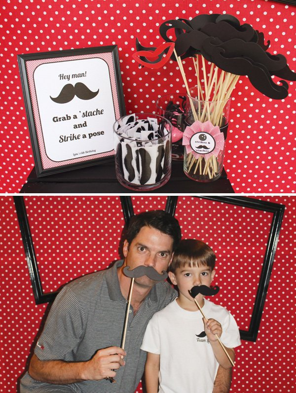 mustaches on sticks - bowling party photo booth props