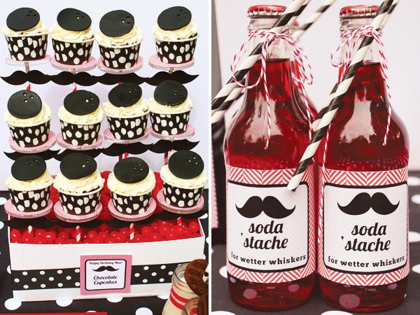bowling party cupcakes and mustache themed soda labels