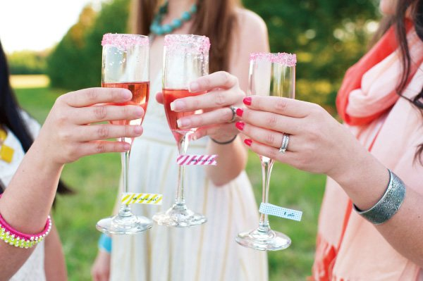 pin champagne toast at a neon bridal shower