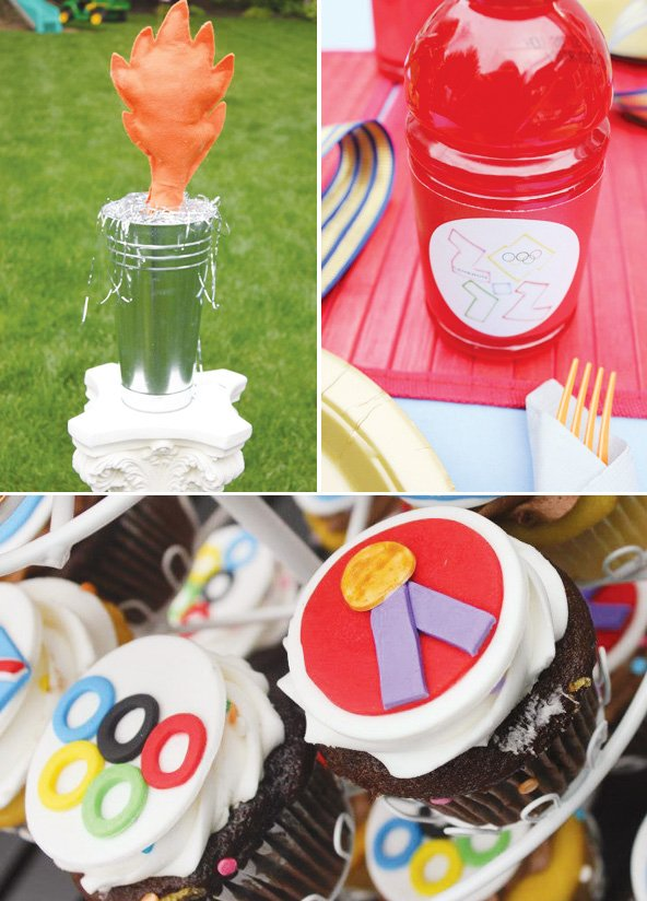 olympic themed birthday party felt torch