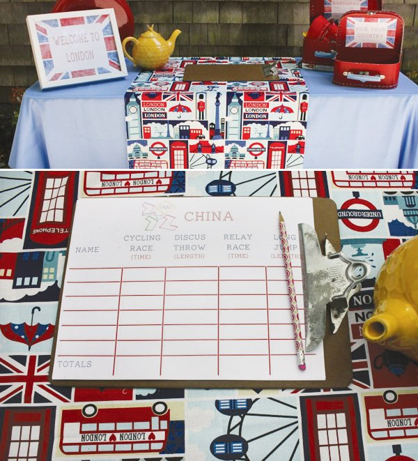olympic themed birthday party with london fabric for london 2012
