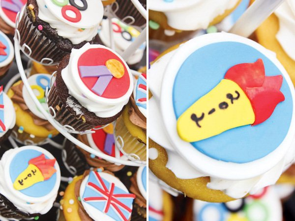 olympic themed birthday party with medal cupcake toppers