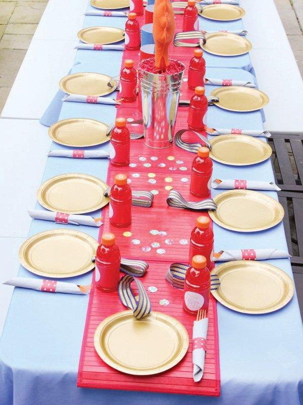 olympic themed birthday party table setting