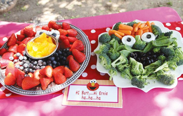 oscar the grouch veggie platter for a sesame street backyard party