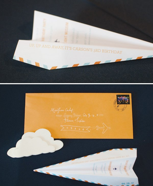 paper airplane birthday party invitations